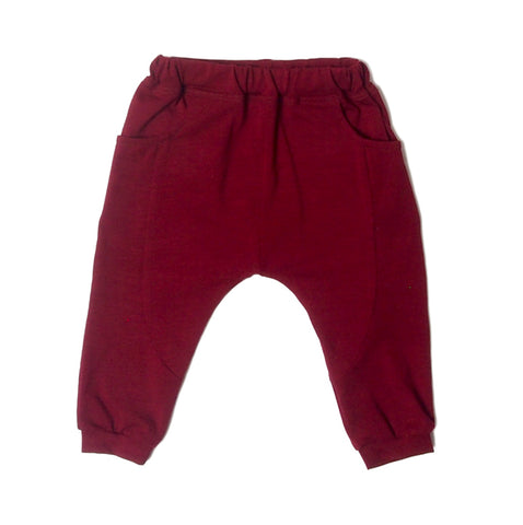 Classic LW Sarouel Infant Pants in burgundy.