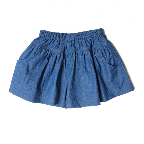 girl skort chambray blue