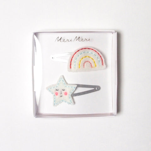 rainbow & star hair clips
