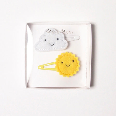 cloud & sun hair clips