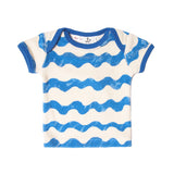 Noe & Zoe terry infant  tee waves blue
