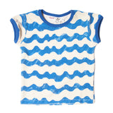 Noe & Zoe terry tee toddler waves blue