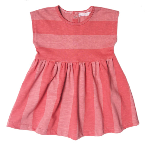 Wide stripe dress tomato red