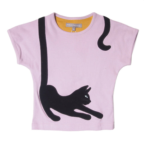 Milk On The Rocks Yoga Cat Tee. Slim body fit.