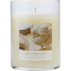 UNISEX ONE 4.5 inch GLASS PILLAR SCENTED CANDLE.  COMBINES SWEET CREAMY VANILLA AND COCONUT TO CREATE A DELIGHTFUL FRAGRANCE. BURNS APPROX. 70 HRS. VANILLA CREAM SCENTED by Vanilla Cream Scented