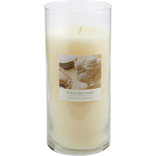 UNISEX ONE 7.5 inch GLASS PILLAR SCENTED CANDLE.  COMBINES SWEET CREAMY VANILLA AND COCONUT TO CREATE A DELIGHTFUL FRAGRANCE. BURNS APPROX. 110 HRS. VANILLA CREAM SCENTED by Vanilla Cream Scented