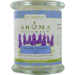 UNISEX ONE 3.7x4.5 inch MEDIUM GLASS PILLAR SOY AROMATHERAPY CANDLE.  THE ESSENTIAL OIL OF LAVENDER IS KNOWN FOR ITS CALMING AND HEALING BENEFITS.