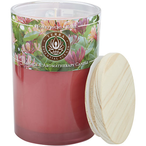 UNISEX MASSAGE & AROMATHERAPY SOY CANDLE 12 OZ TUMBLER. A PEACEFUL & UPLIFTING BLEND WITH ROSE QUARTZ GEMSTONE. BURNS APPROX. 30+ HOURS HONEYSUCKLE & ROSE by Terra Essential Scents