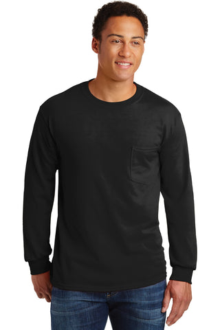 Gildan - Ultra Cotton 100% Cotton Long Sleeve T-Shirt with Pocket. 2410