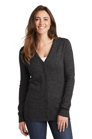Port Authority Ladies Marled Cardigan Sweater. LSW415