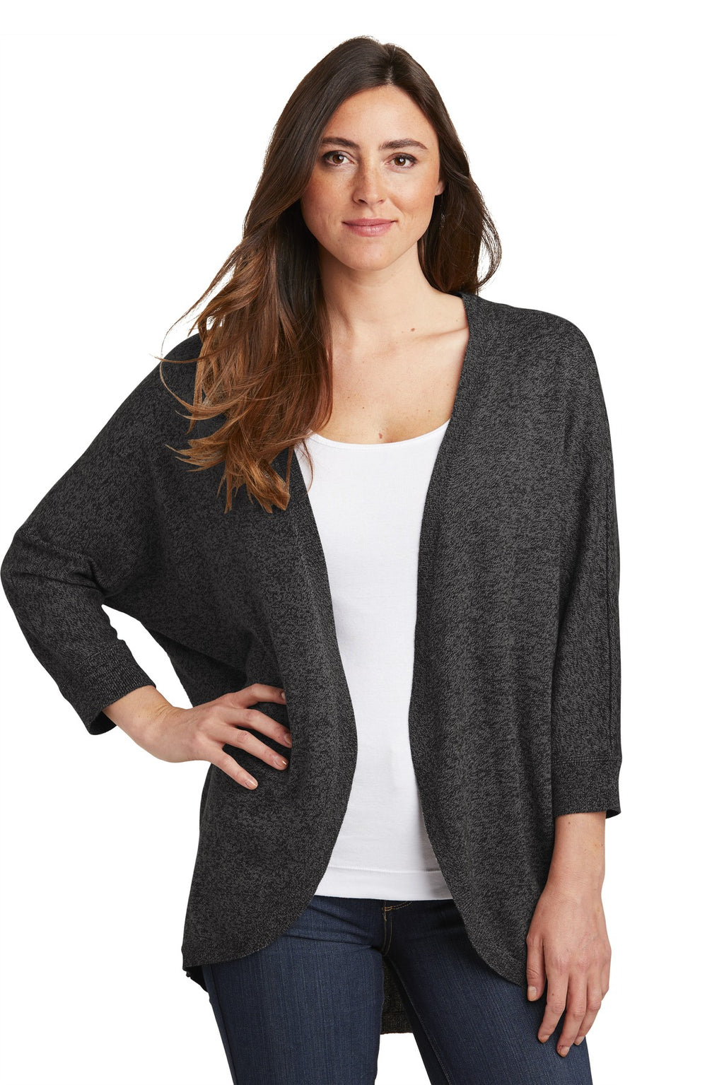 Port Authority Ladies Marled Cocoon Sweater. LSW416