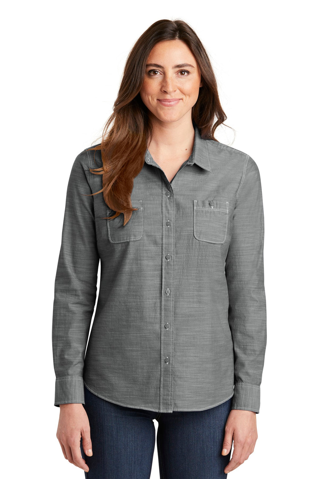Port Authority Ladies Slub Chambray Shirt. LW380