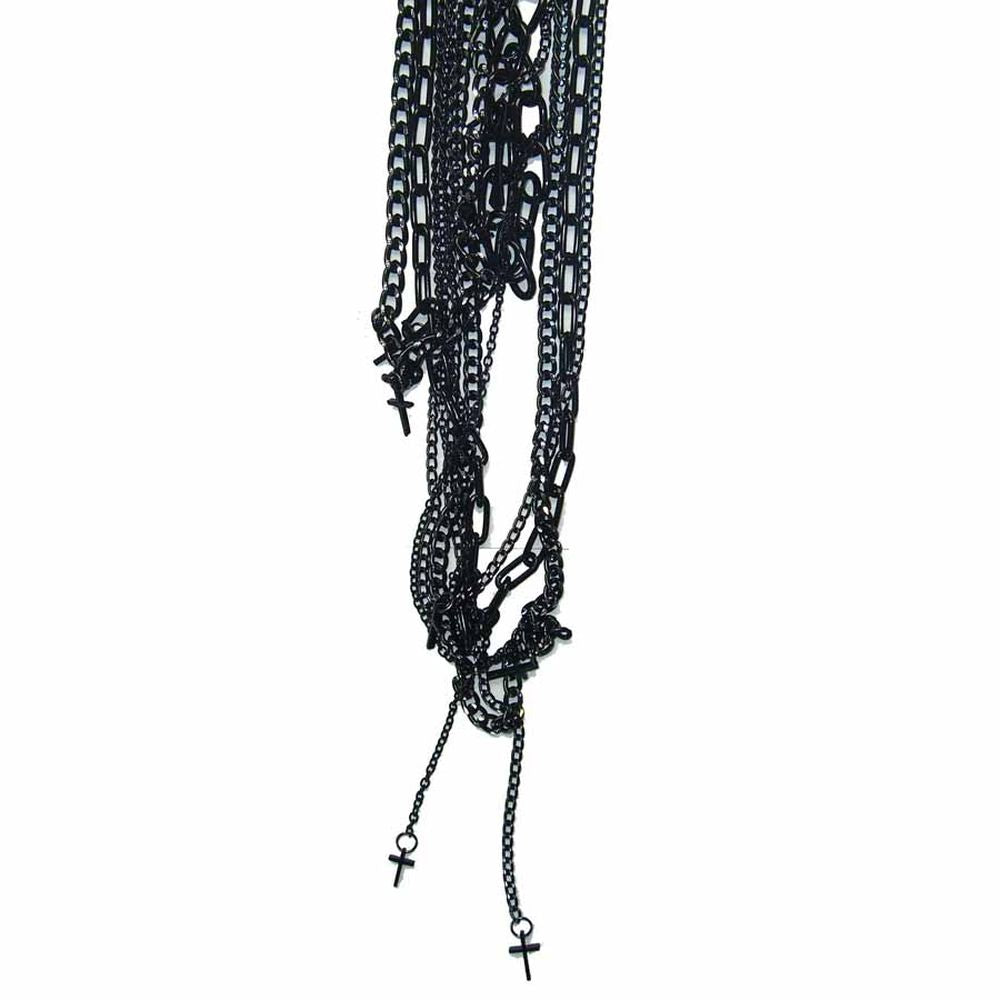 Black Chain Small Cross Necklace