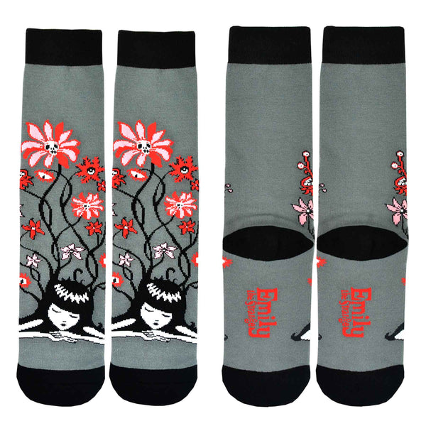 Emily the Strange Flower Knitted Cotton Crew Socks