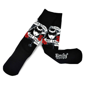 Emily the Strange Get Lost Knitted Cotton Crew Socks