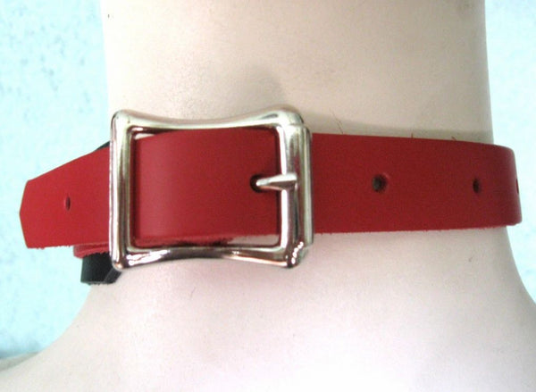 Red Leather Bondage Choker with 3 Rings, Clips and Chain