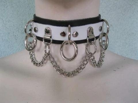 White on Black Leather Choker with 3 Rings, Clips, and Chain