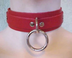Choker With One Welded D-ring and O-ring - Red on Red Leather