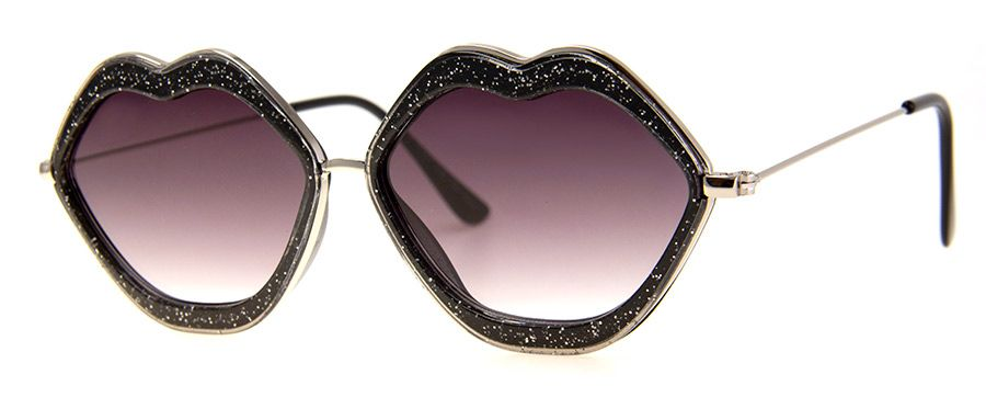 Lips - Black Glitter Sunglasses