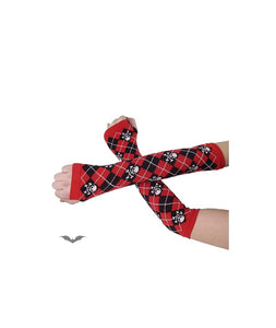 Black & Red Plaid Arm Warmers with Skull and Crossbones