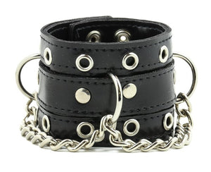 Leather Bracelet with D-ring and Chain
