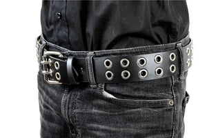 Black Belt with Double Row Silver Eyelets