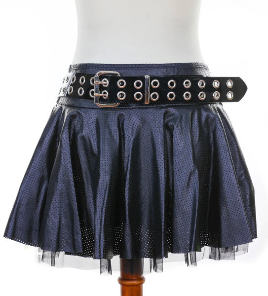 Black Vinyl Belt with Double Row Silver Eyelets