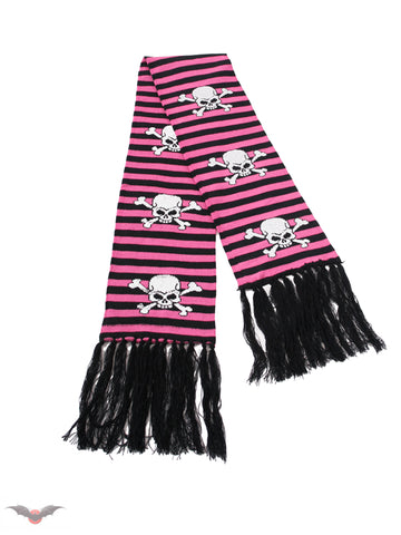 Black and pink striped scarf with Skulls