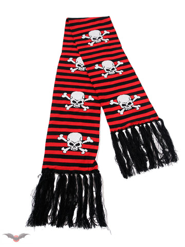 Black and red striped scarf with Skulls
