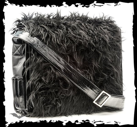 Black imitation fur bag with long strap