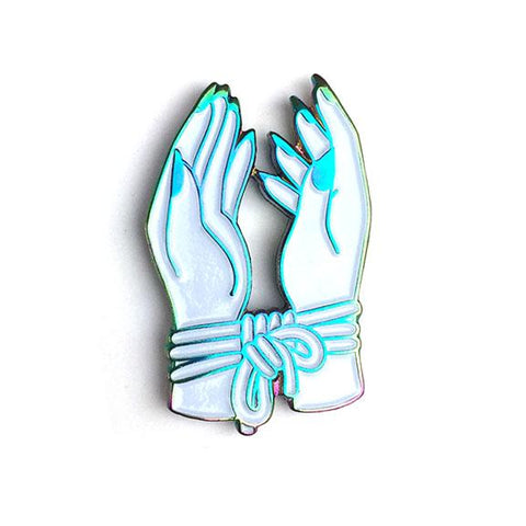 Bound Hands (Rainbow Edition) Enamel Pin by Hannah Nance