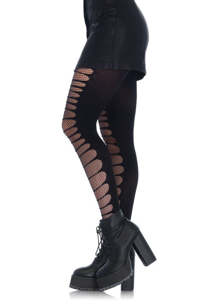 Double-Layer Shredded Spandex and Fishnet Tights – Black