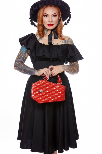 Elvira Coffin Mini Tote Venom Red Sparkle