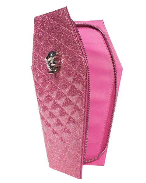 Elvira Coffin Wallet Clutch Bubbly Pink Sparkle