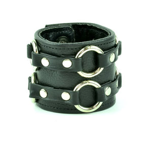 Leather Strap Bracelet - Double Rings