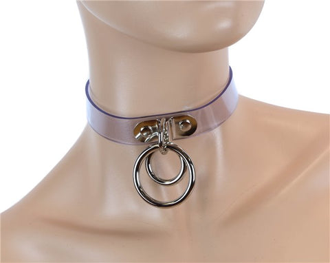 Double Ring Bondage Choker – Clear Vinyl