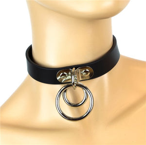 Leather Double Ring Choker