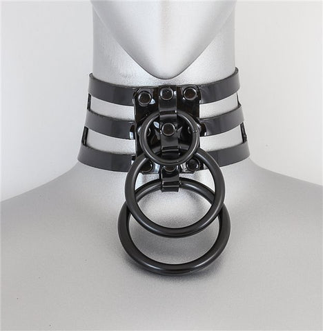 Triple Black Ring Choker - Black Vinyl