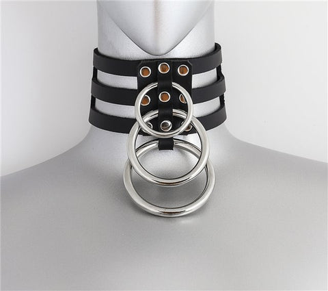 Triple Silver Ring Choker