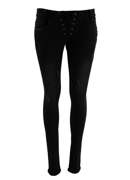 Gothic Attitude Lace Up Distress Denim Jeans