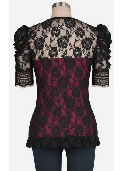 Gothic Burgundy Lace Top