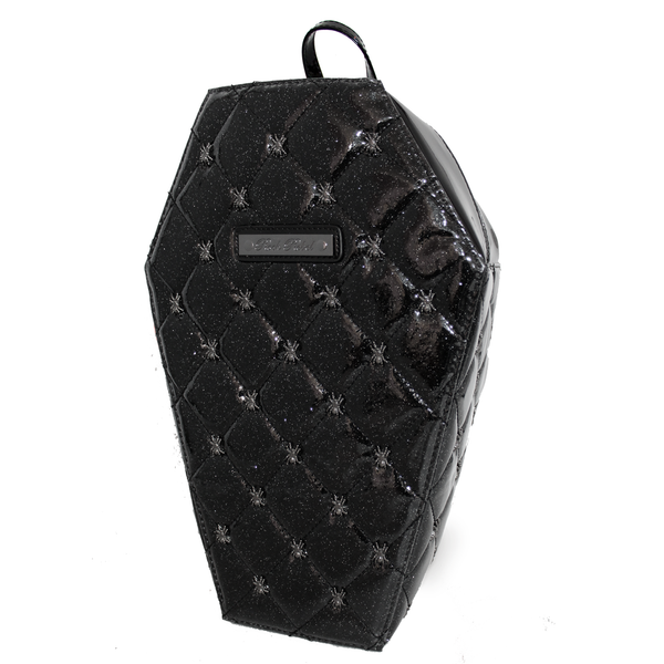 Lucy Quilted Coffin Backpack in Black