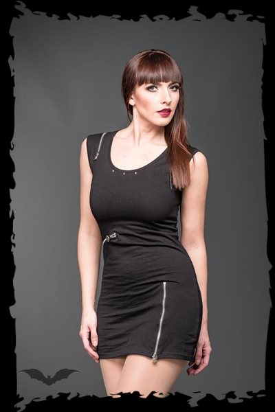 Minidress Decorated with Zippers