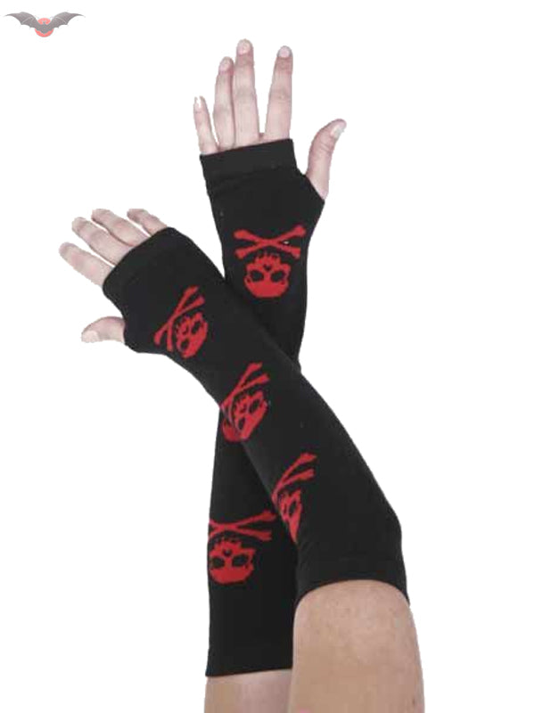 Black arm warmers with 3 Red skull & crossbones