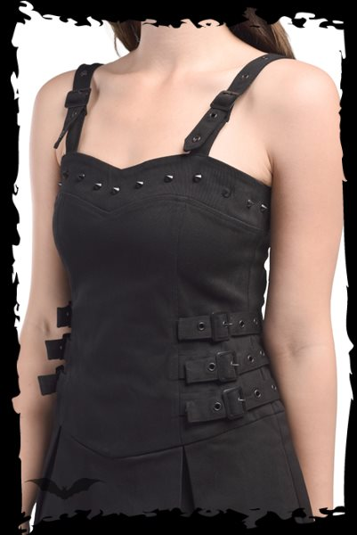 Little black dress with studs and buckles