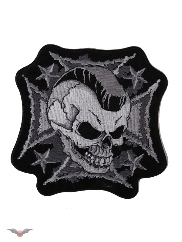 Mohawk Skull on Iron Cross Patch