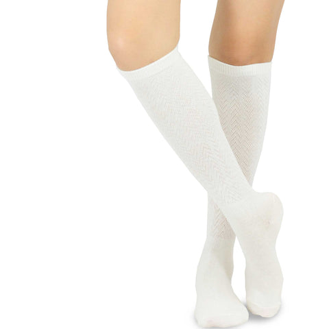 Ivory White Rib Pointelle Knee High Women's Socks