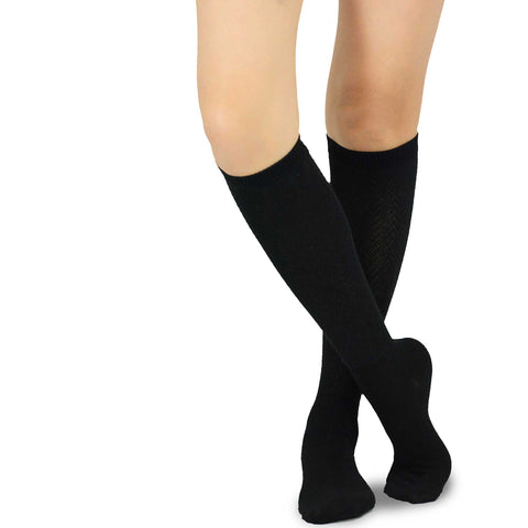 Black Rib Pointelle Knee High Women's Socks