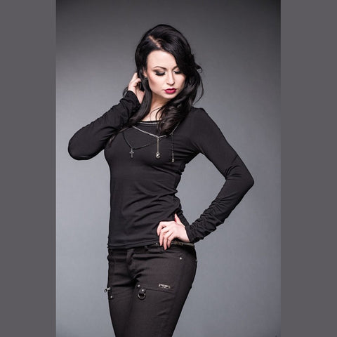 Long Sleeve Shirt with Black & Silver Chains