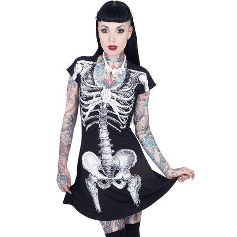 Skeleton White Flare Dress